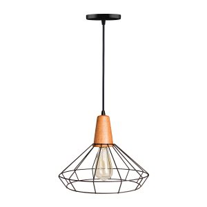 luminária pendente aramado com madeira vesper iluminação